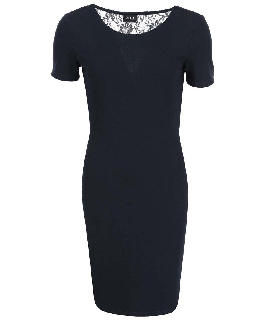 Tmavě modré šaty s krajkou VILA Sound