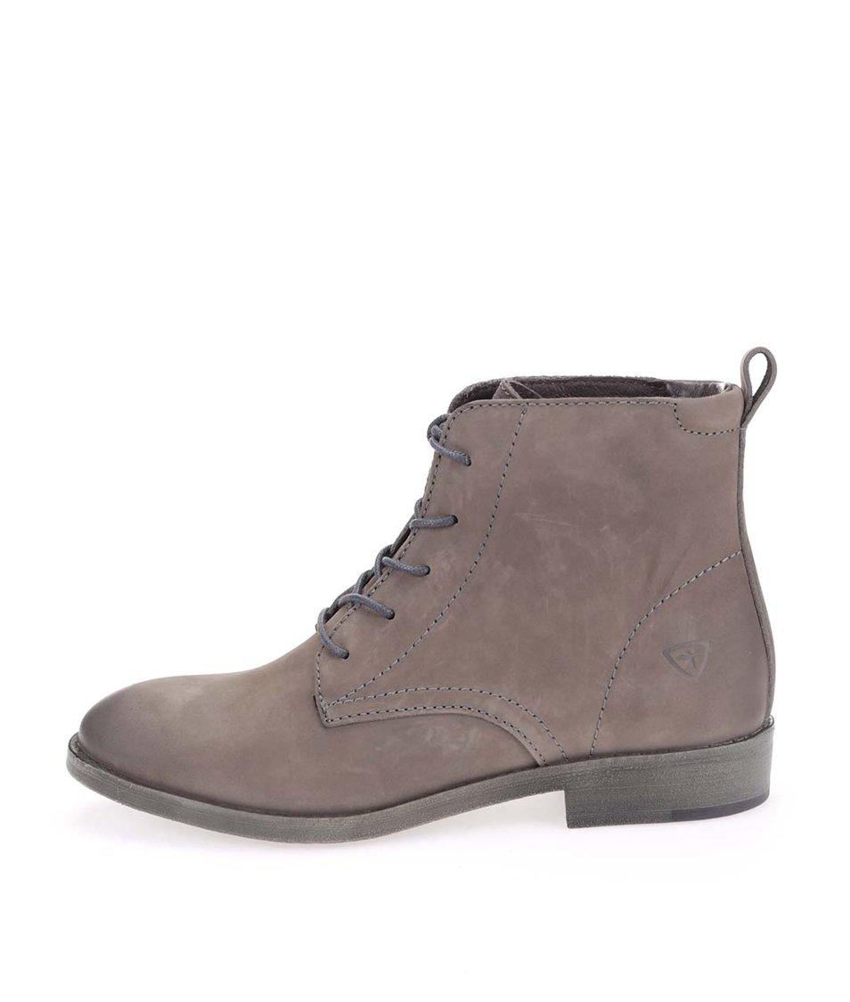 Hnědošedé kožené kotníkové boty na šněrování Tamaris