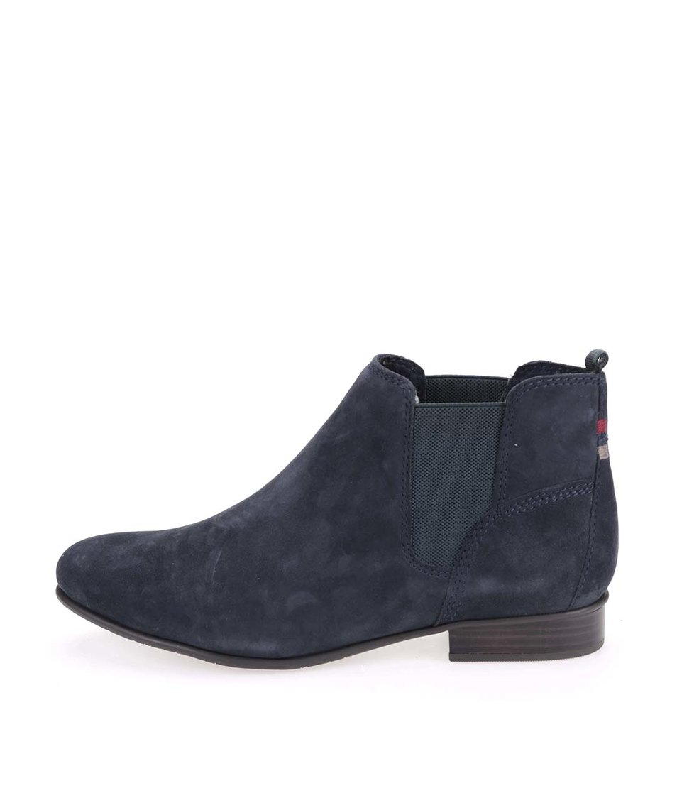 Tmavě modré kožené kotníkové  boty Tamaris
