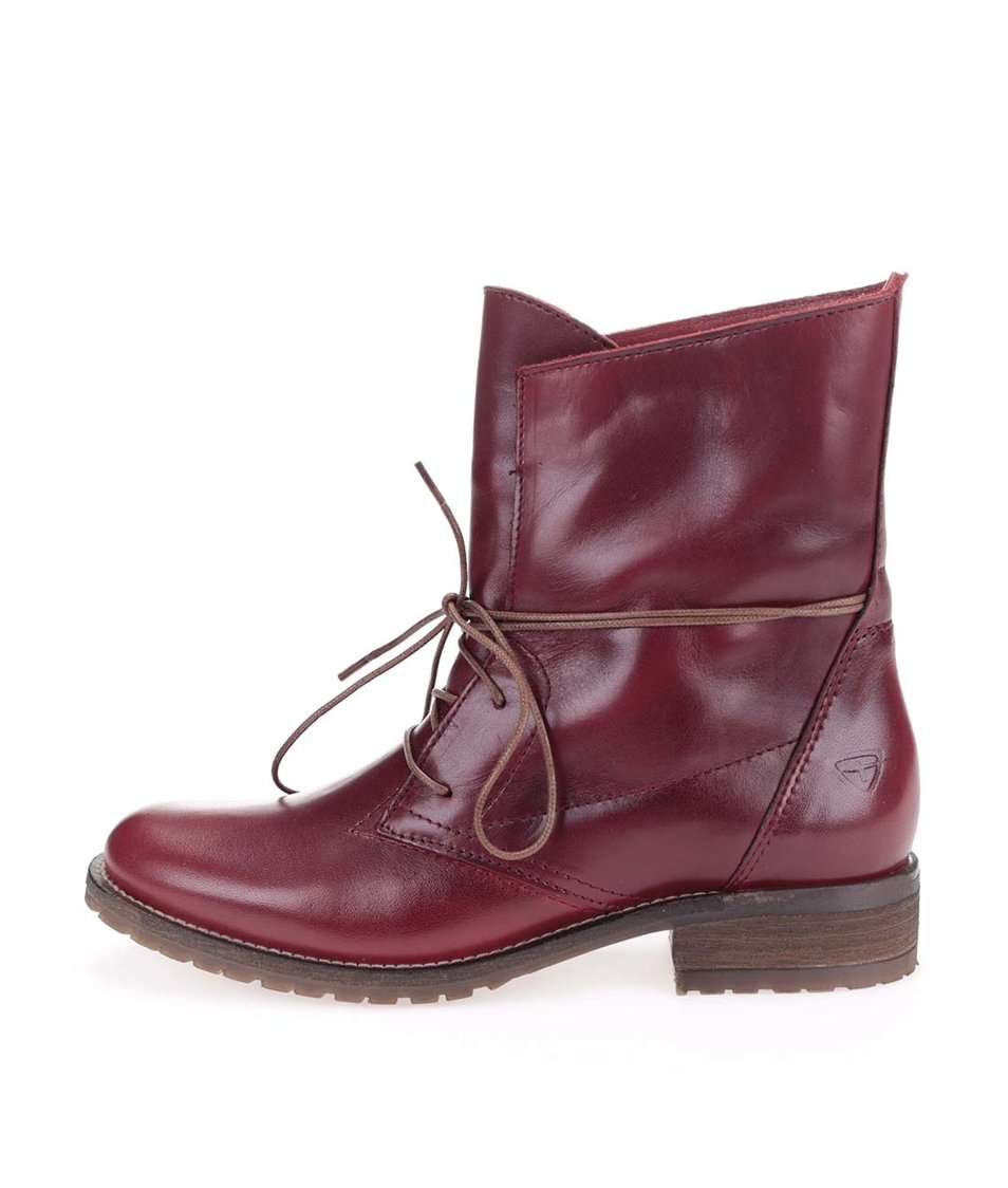 Červené kožené kotníkové boty Tamaris