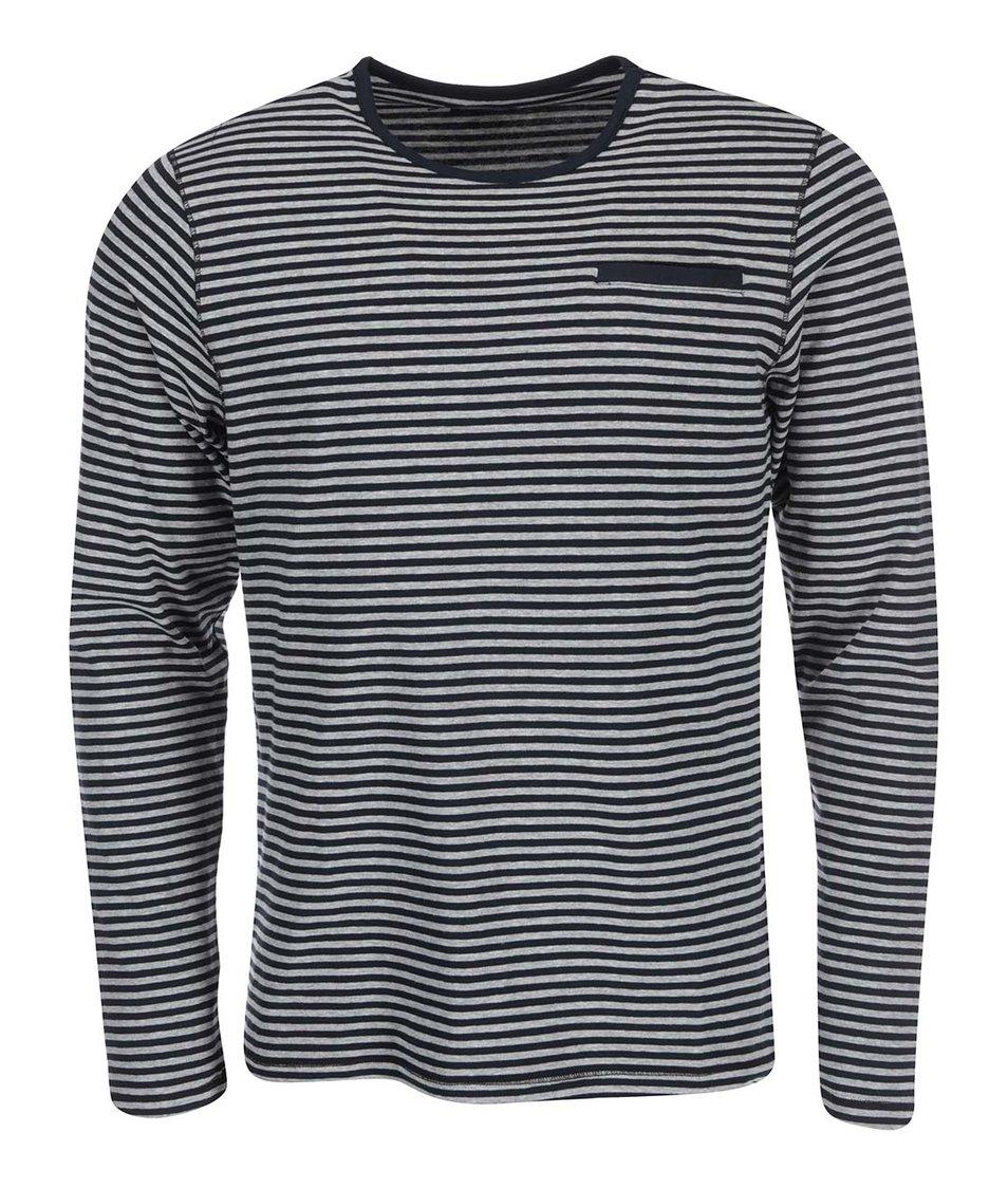 Šedo-černé pruhované triko s dlouhým rukávem Casual Friday by Blend