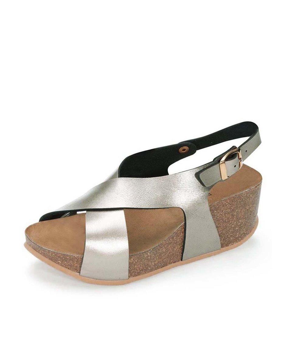 Bronzové lesklé sandálky na klínku OJJU