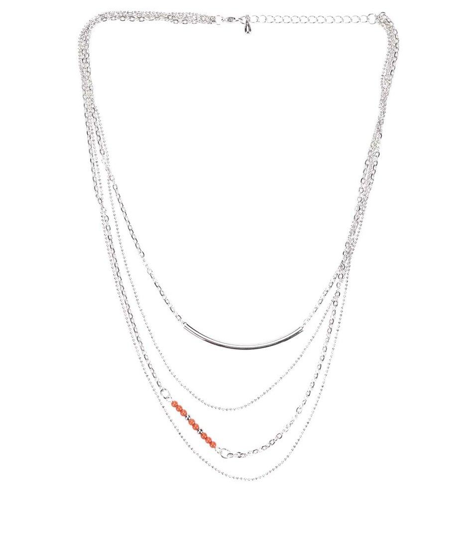 Náhrdelník ve stříbrné barvě s červenými korálky Vero Moda Viva