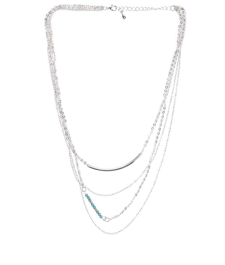 Náhrdelník ve stříbrné barvě s tyrkysovými korálky Vero Moda Viva