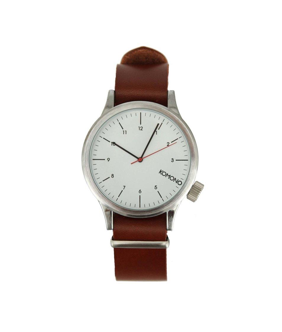 Bílé pánské hodinky s koženým páskem Komono Magnus