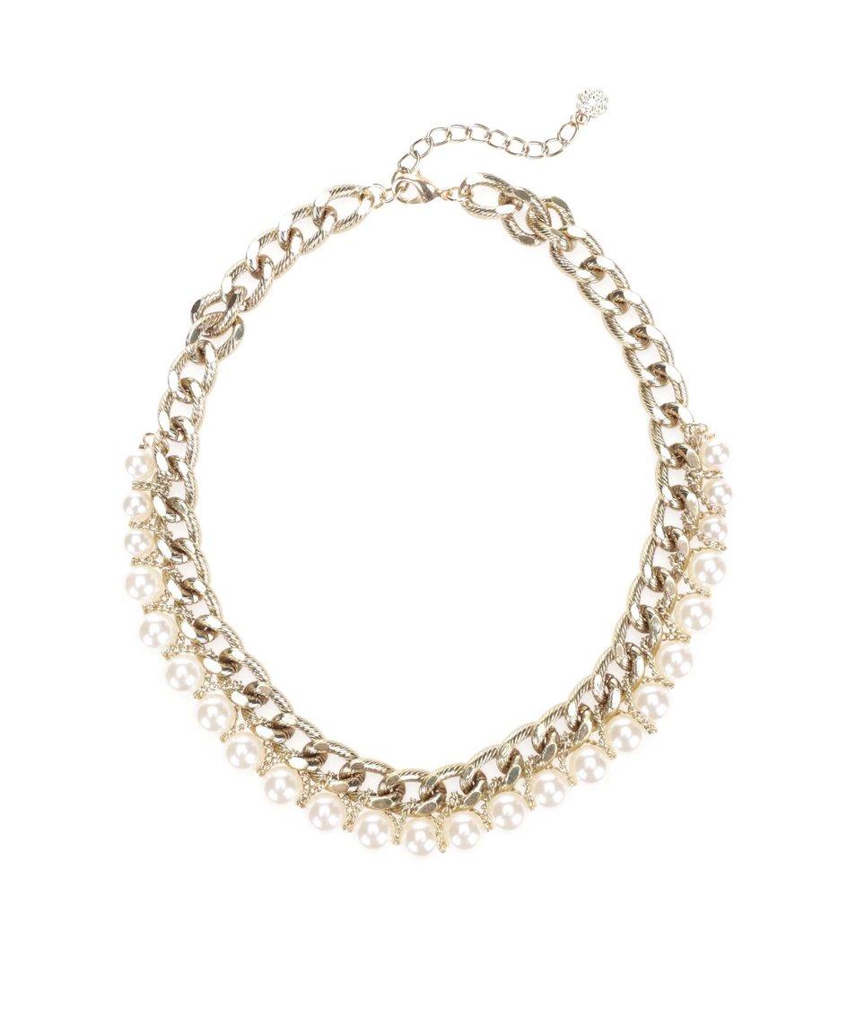 Náhrdelník ve zlaté barvě s perličkami Pieces Rilo