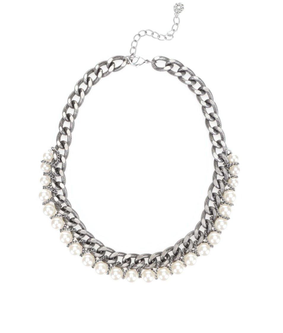Náhrdelník ve stříbrné barvě s perličkami Pieces Rilo