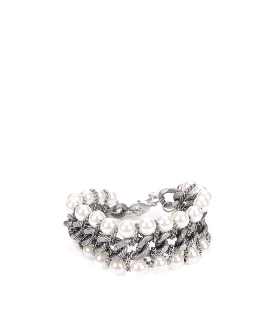 Náramek ve stříbrné barvě s perličkami Pieces Rilo