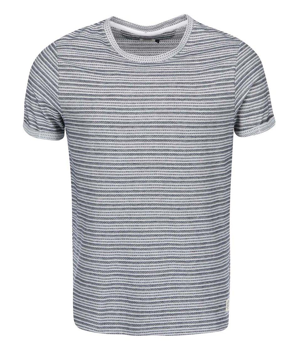Krémovo-modré pruhované triko Jack & Jones Warren