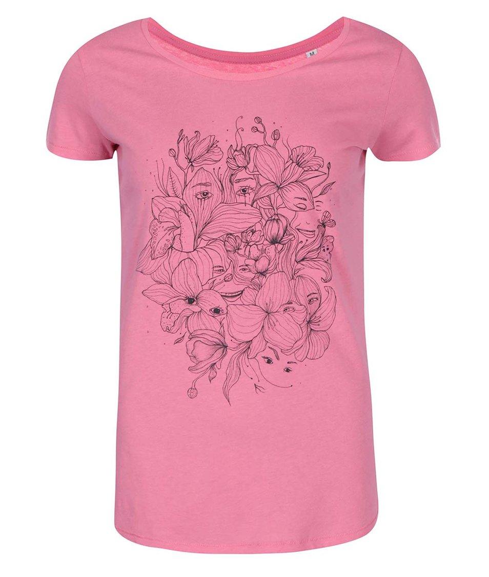 Růžové dámské tričko ZOOT Lokál Oči v květinách