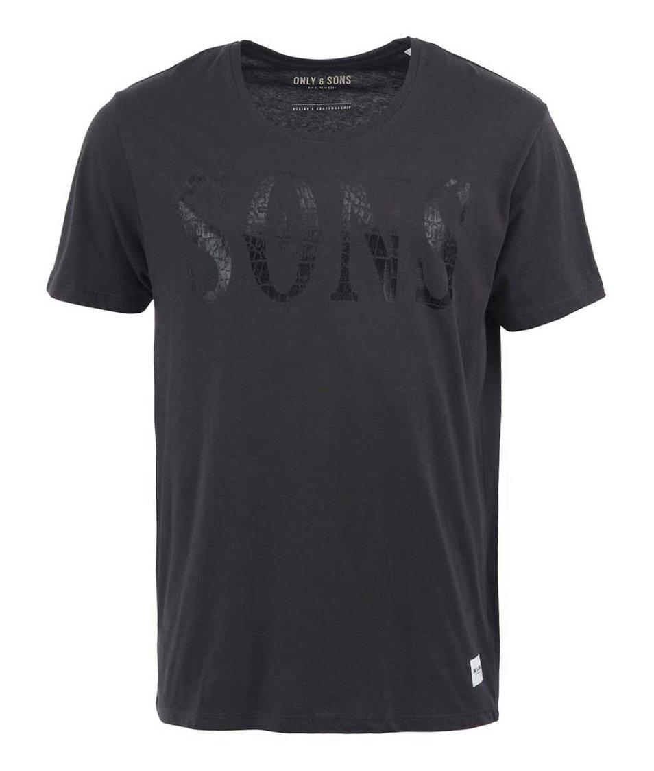 Černé pánské triko s potiskem Only & Sons Brooklyn