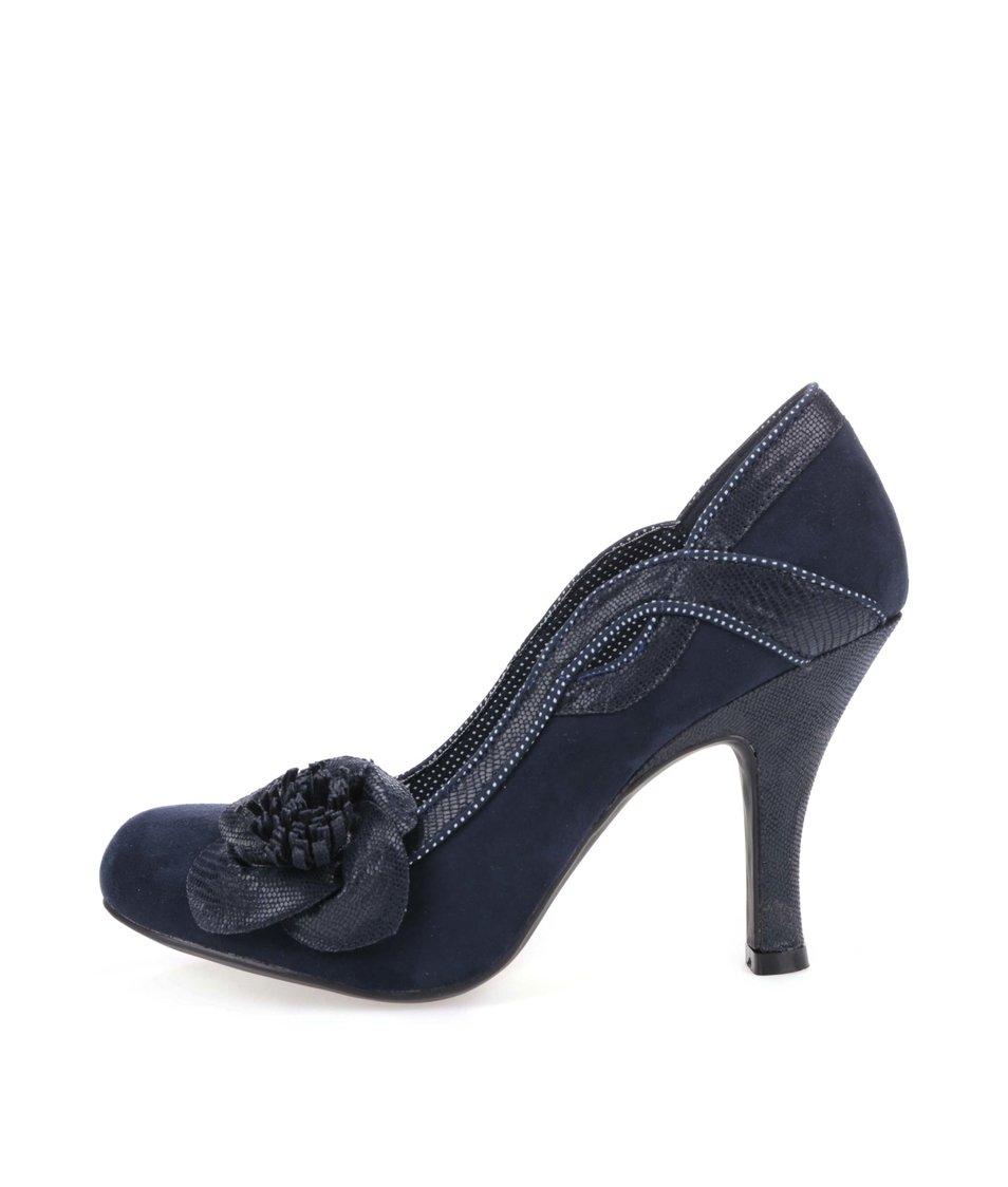 Tmavě modré lodičky s květinou Ruby Shoo Issy