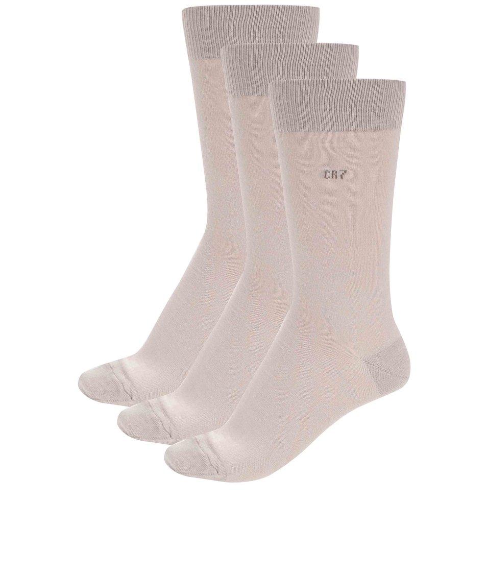 Sada tří béžových ponožek CR7