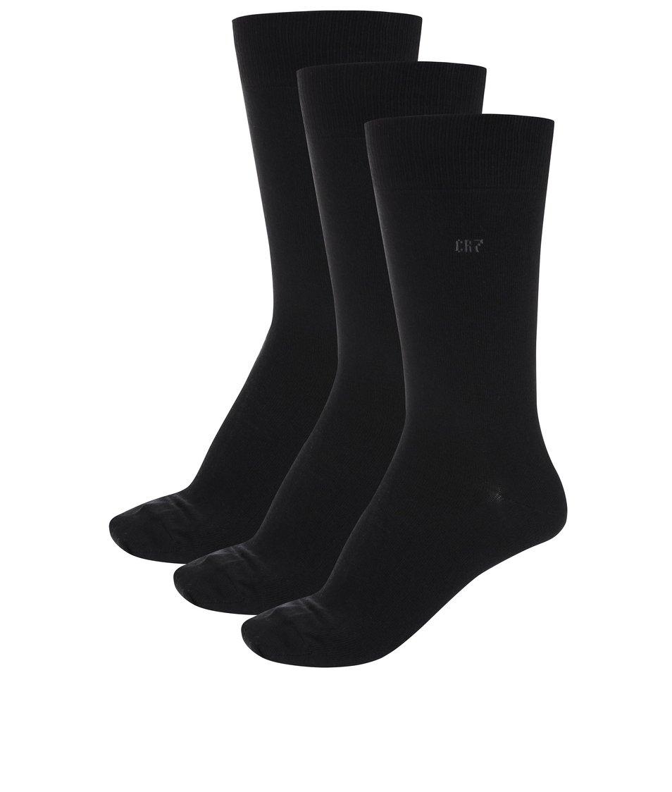Sada tří černých ponožek CR7
