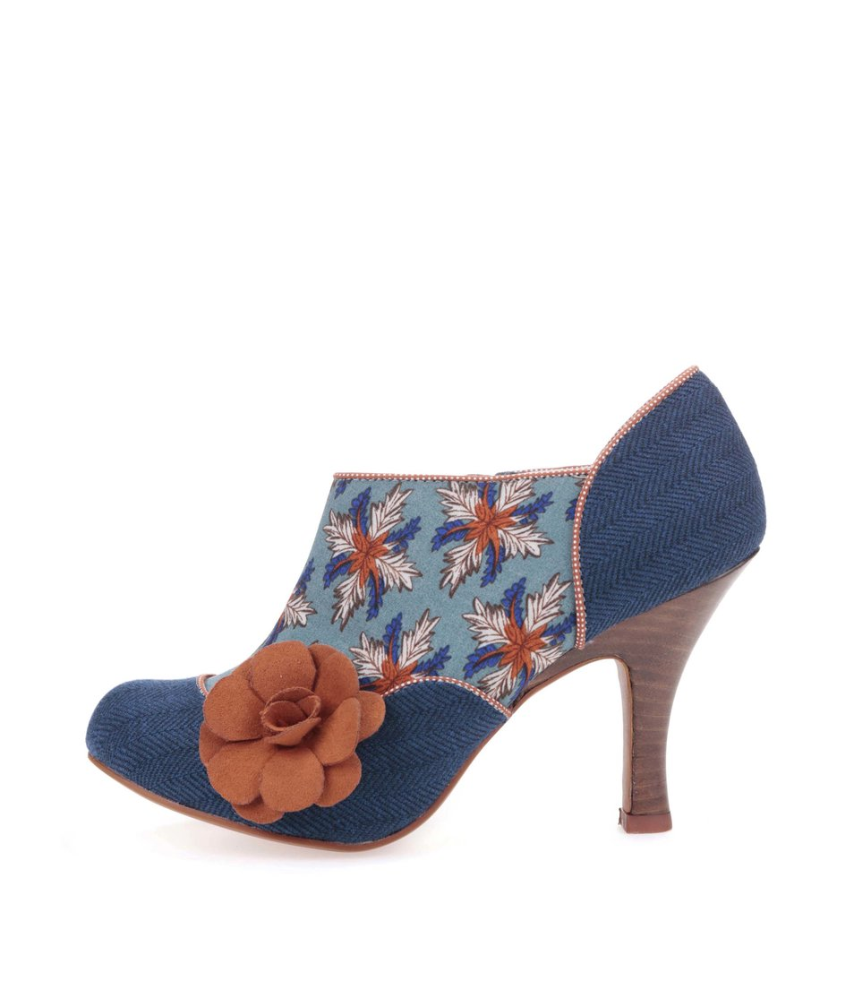 Modré vzorovné boty na podpatku s hnědou květinou Ruby Shoo Reese