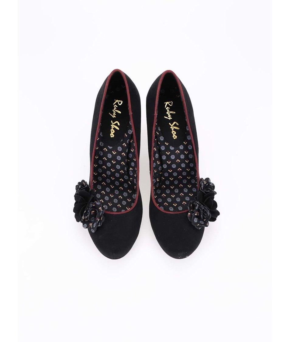 Černé lodičky s květinami Ruby Shoo Eva