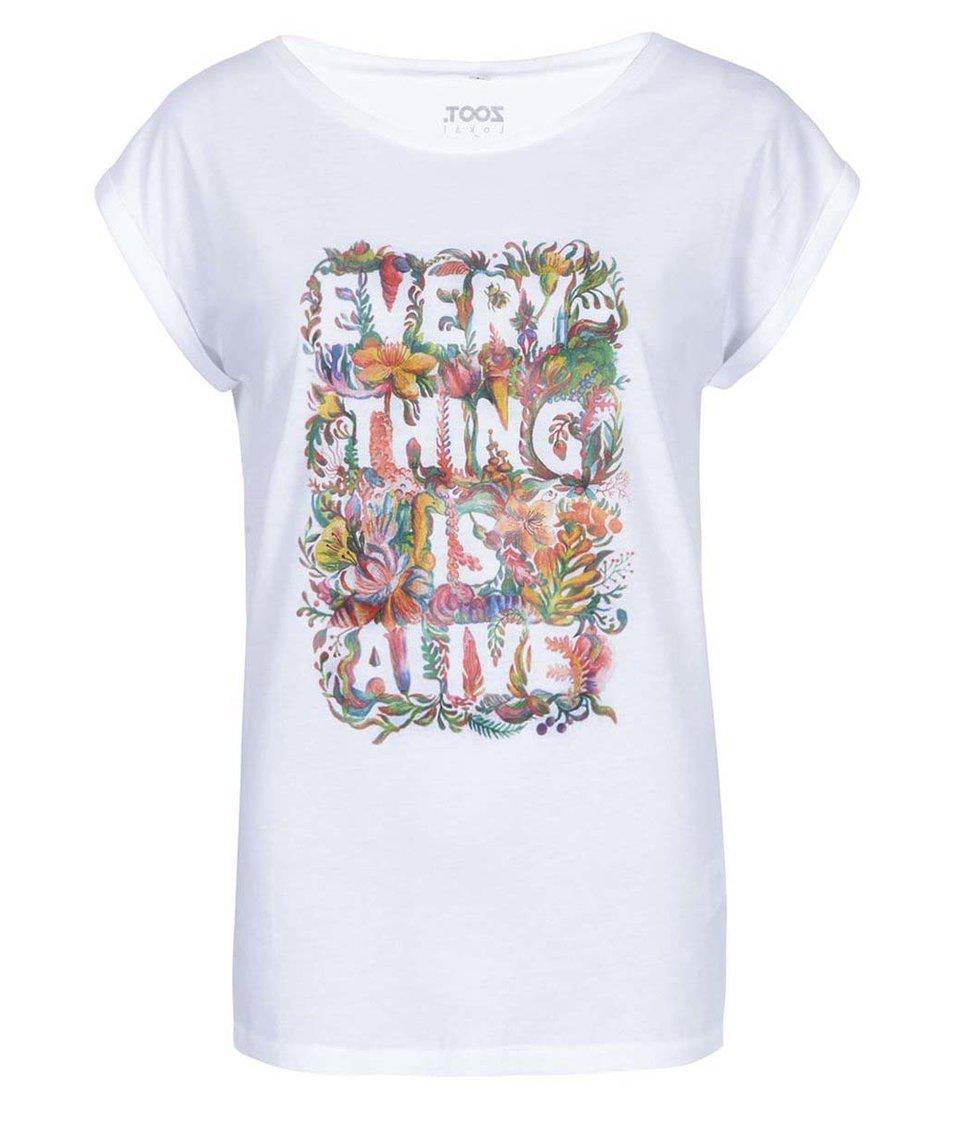 Bílé dámské tričko ZOOT Lokál Everything Is Alive