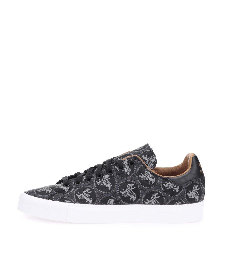 Černé vzorované pánské tenisky adidas Originals Stan Smith Vulc
