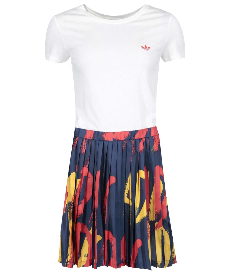 Bílé šaty s barevnou sukní adidas Originals Paris