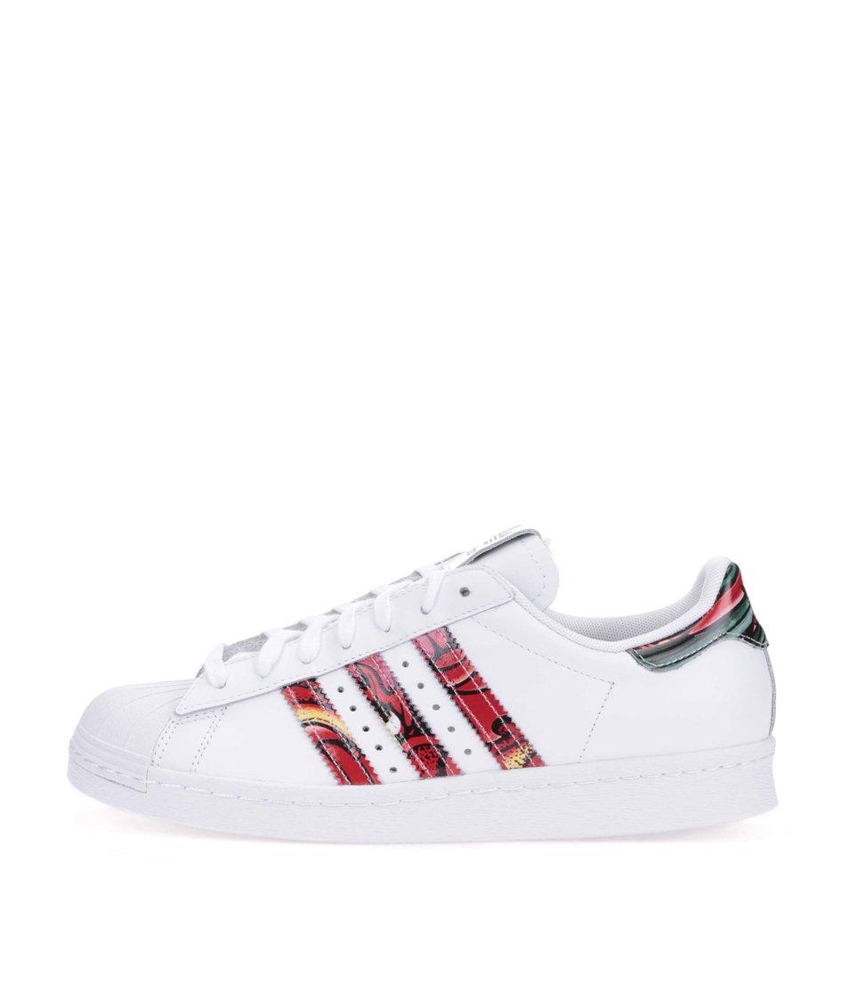 Bílé dámské kožené tenisky s barevnými pruhy adidas Originals Superstar