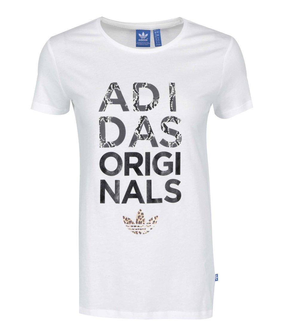 Bílé dámské tričko s nápisem adidas Originals Animal