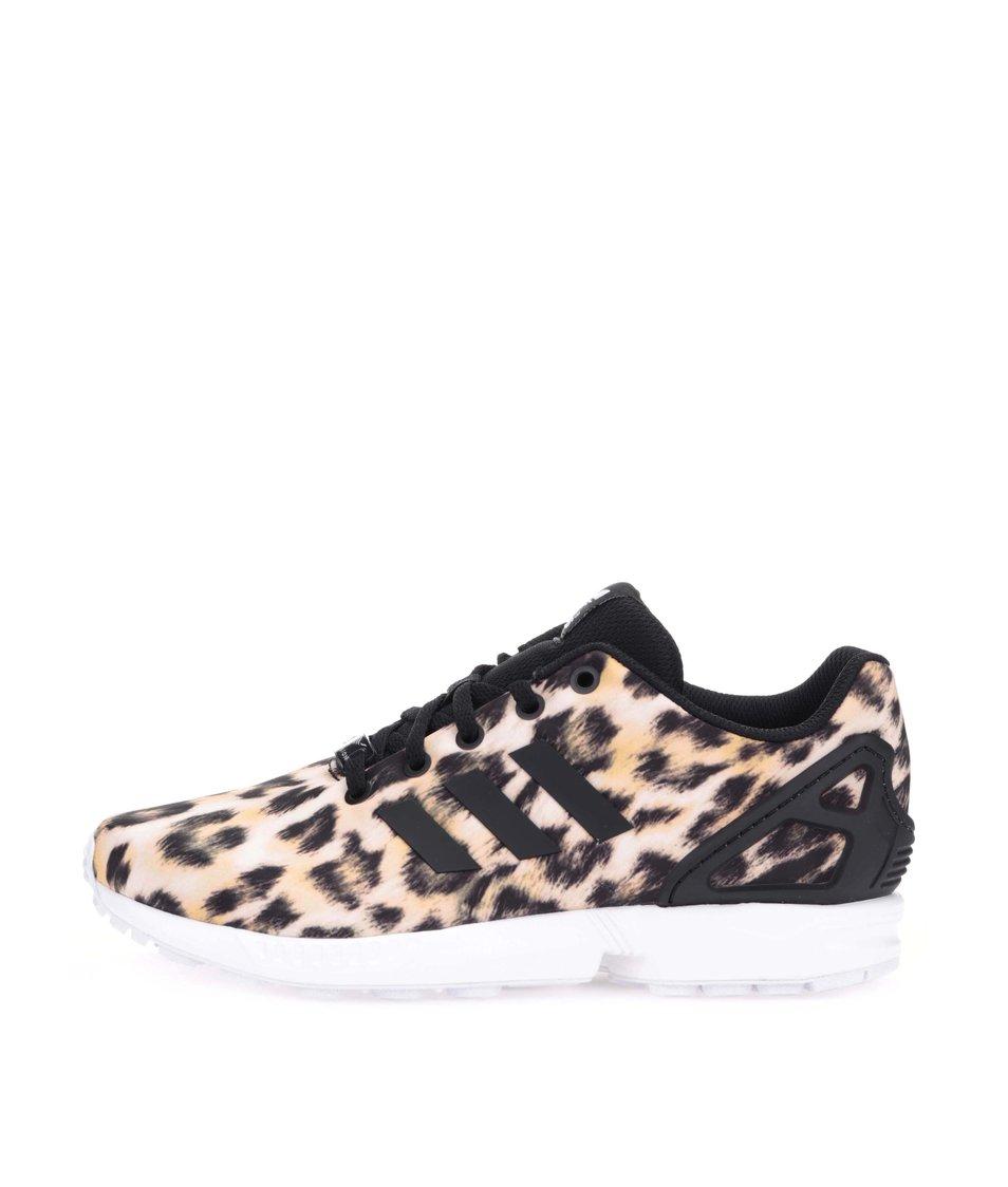 Černo-béžové dámské tenisky s gepardím vzorem adidas Originals Flux