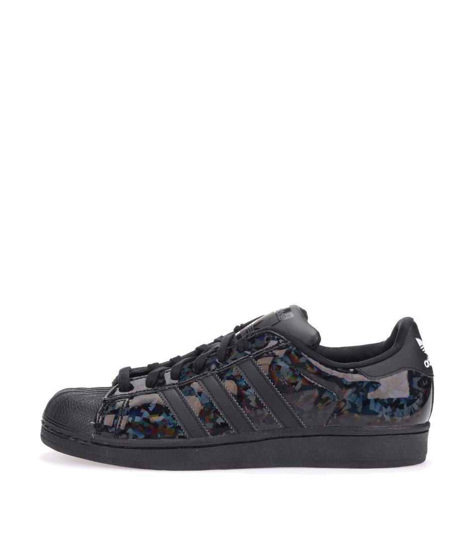 Černé dámské tenisky s lesklými pruhy adidas Originals Superstar