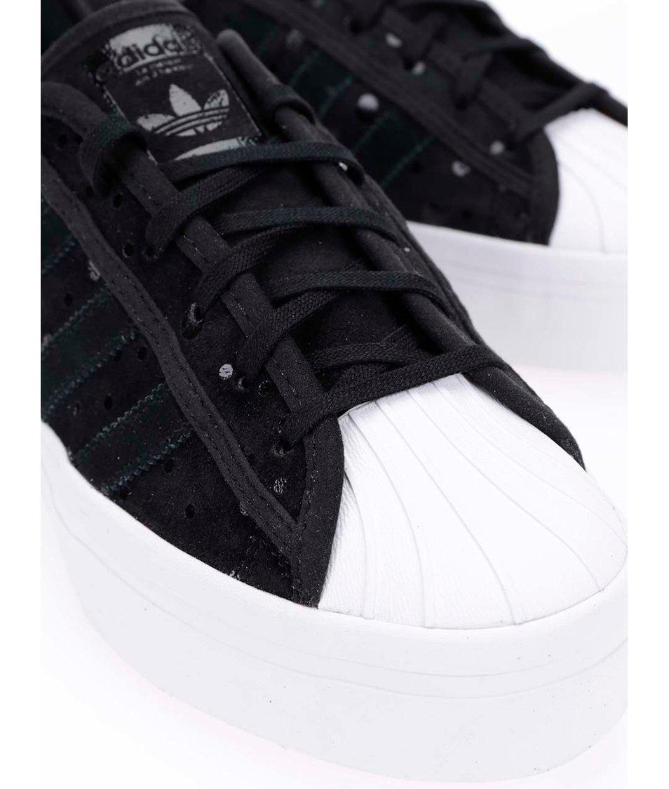 30a9f057c ... Černé dámské kožené tenisky na platformě adidas Originals Superstar ...