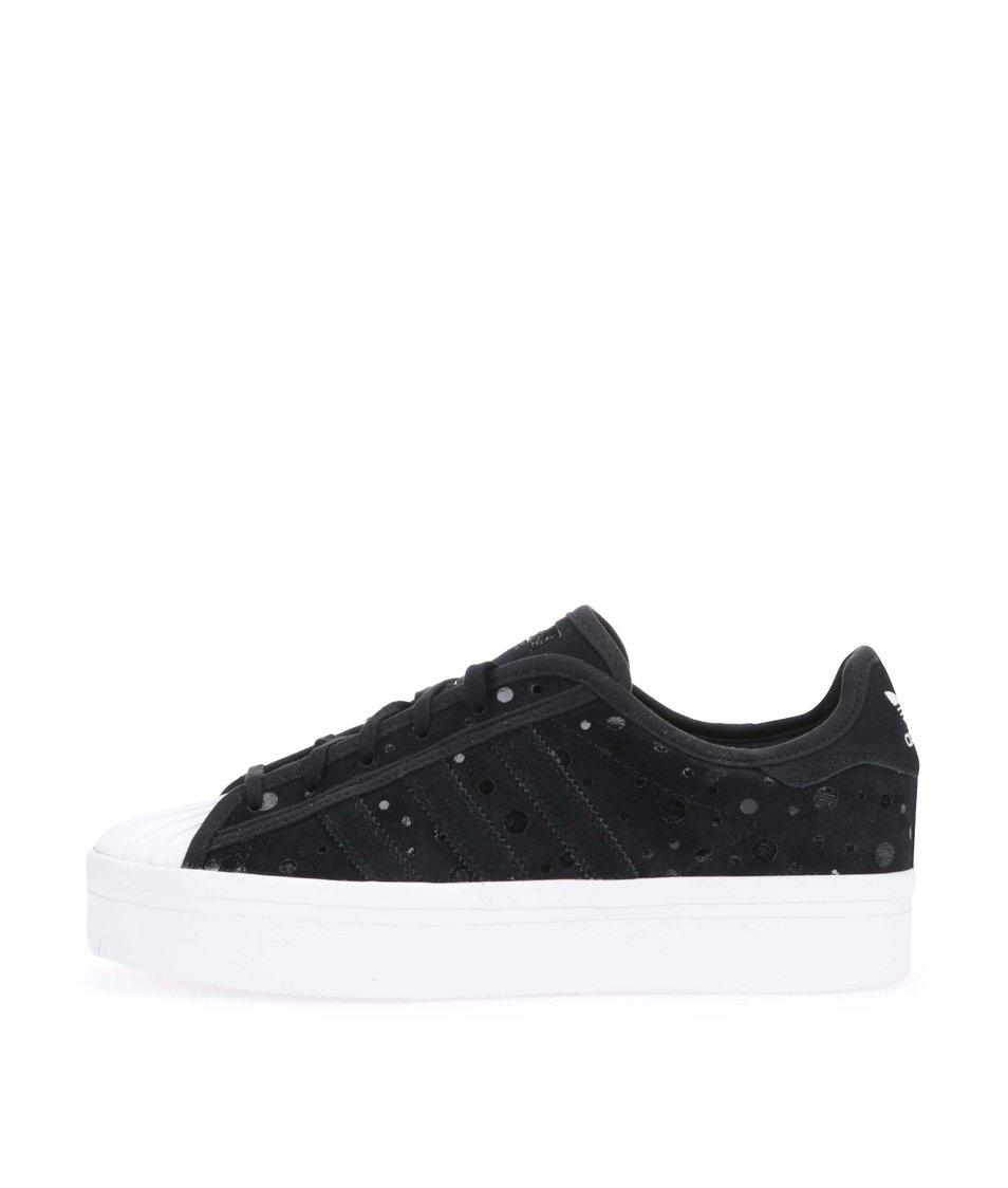 Černé dámské kožené tenisky na platformě adidas Originals Superstar ... 060a8159cf3