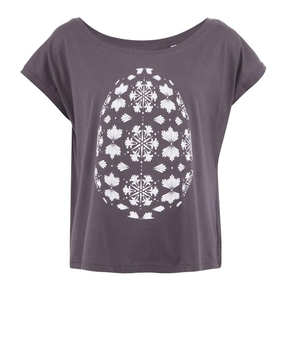 Šedé dámské kratší tričko ZOOT Originál Velikonoční vejce