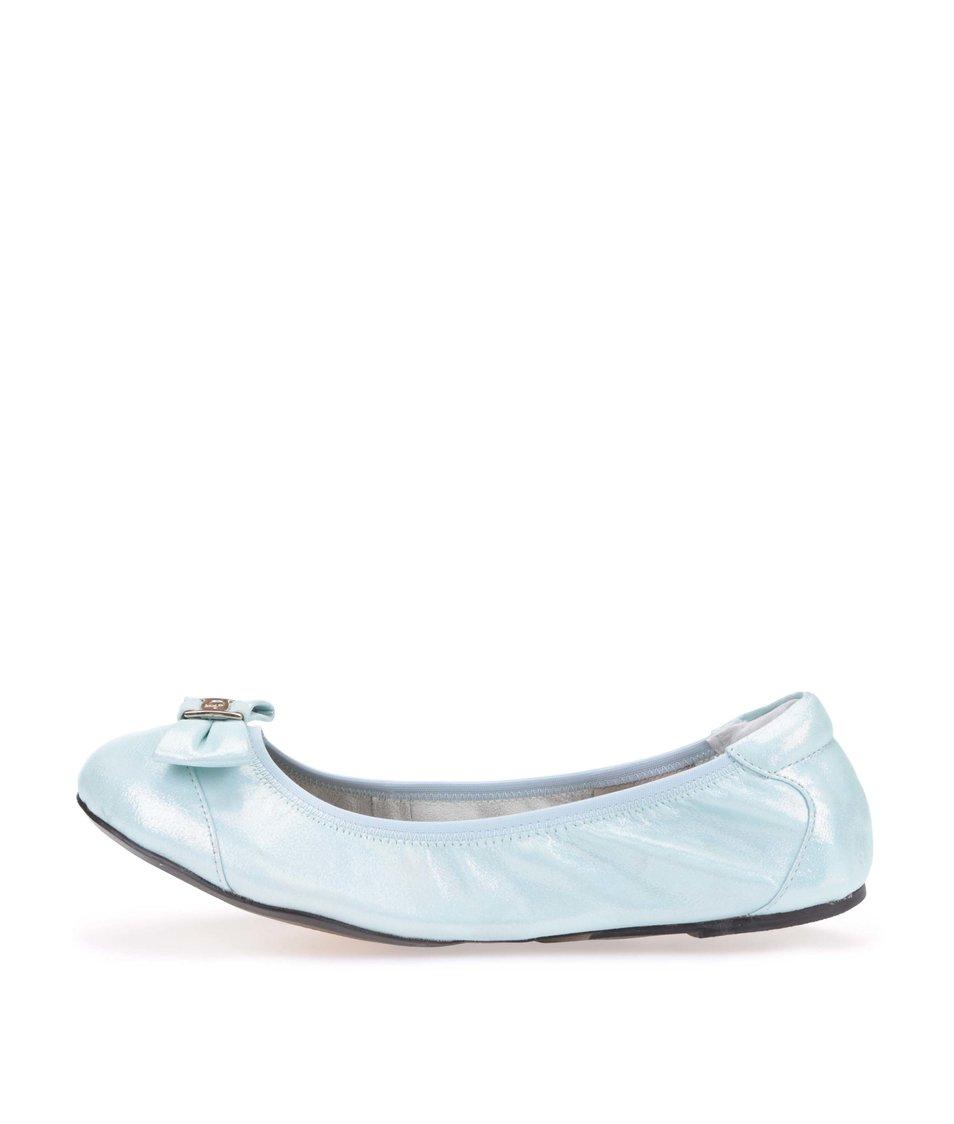 Modrozelené kožené balerínky s mašlí Cocorose London Paddington