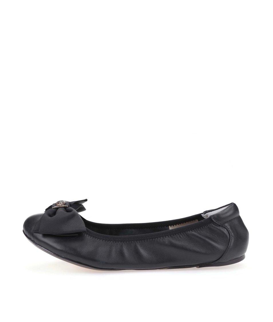 Černé kožené balerínky s mašlí Cocorose London Buckingham