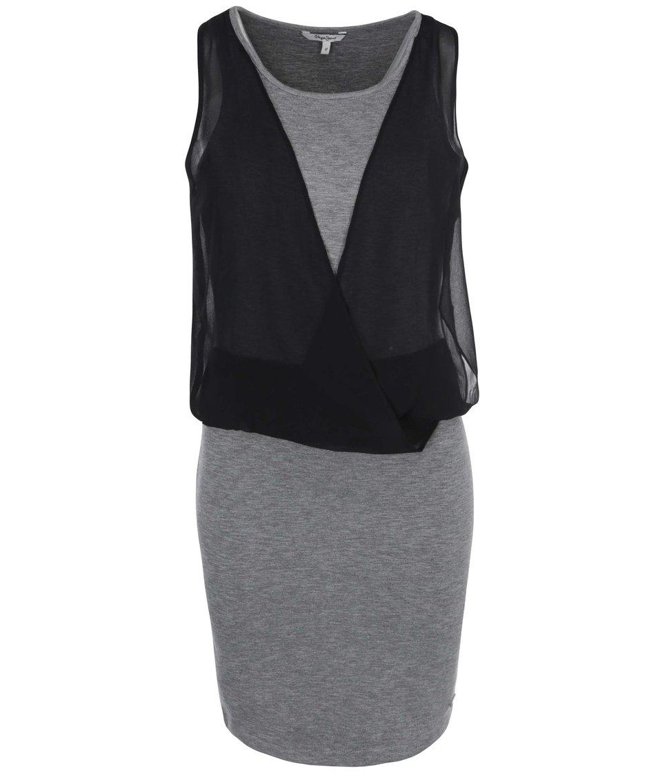 Černo-šedé šaty Pepe Jeans Whitney