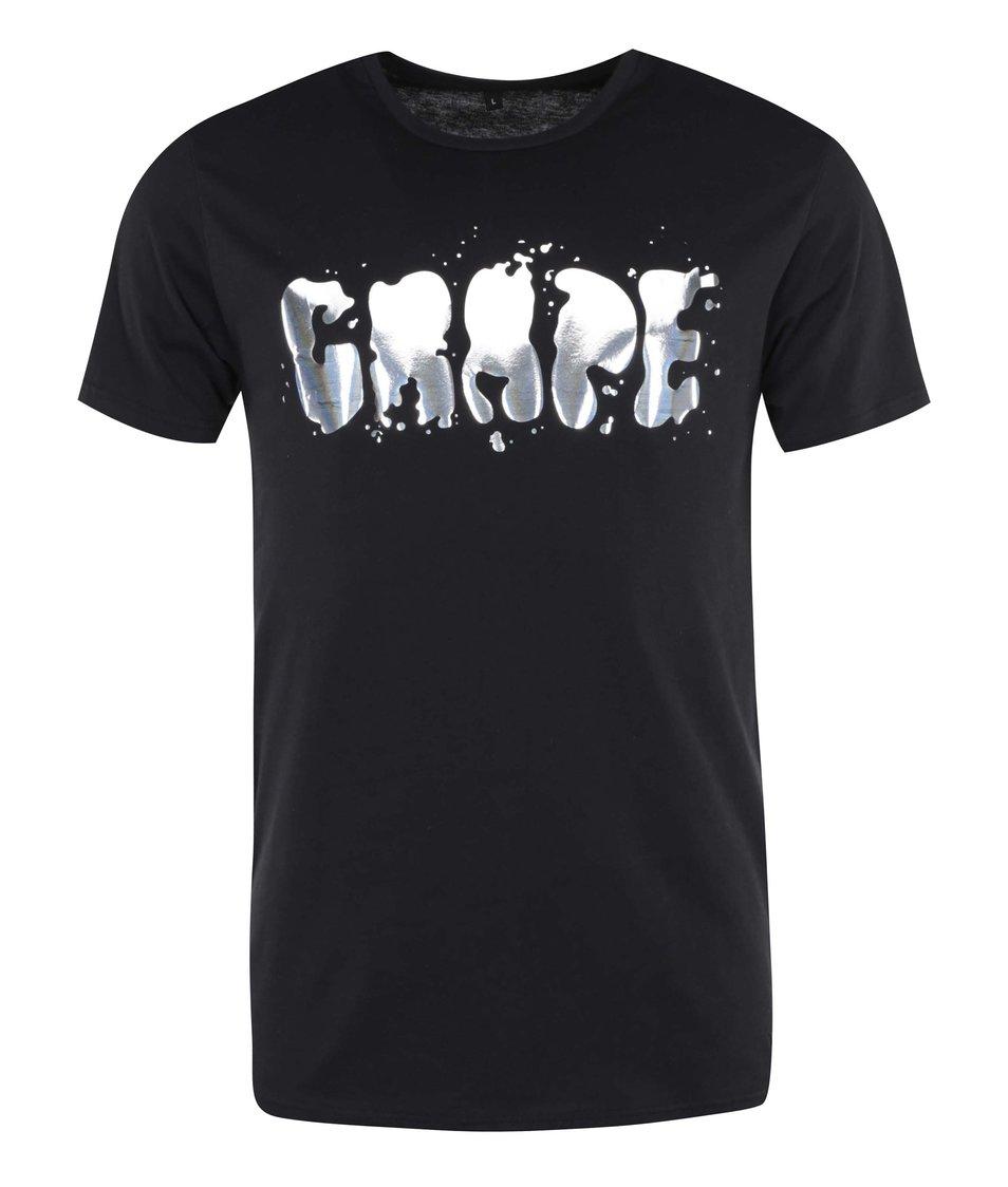 Černé pánské triko Grape Logo Square
