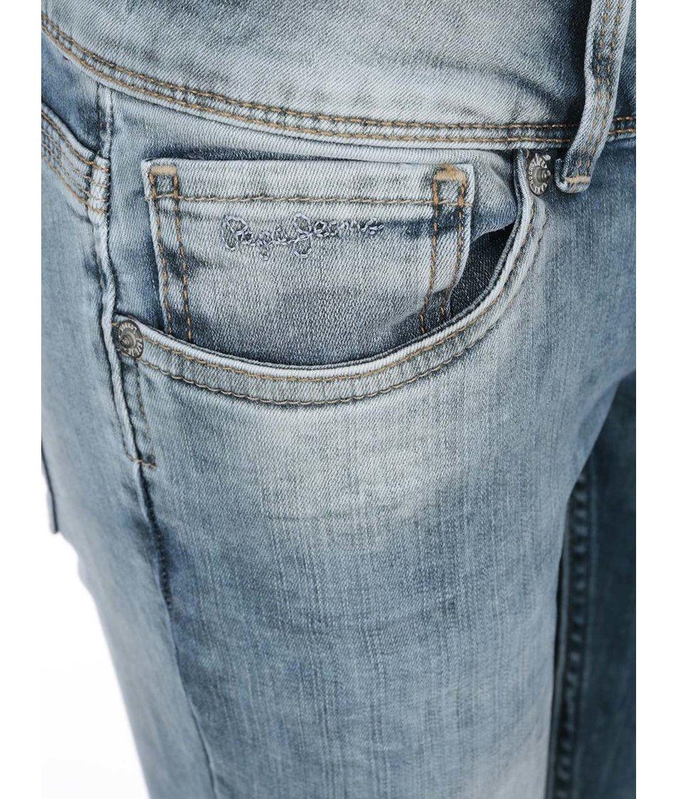 Modré dámské vyšisované džíny Pepe Jeans Vera