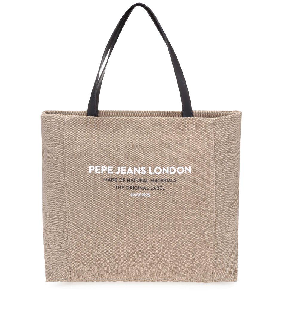Béžový shopper s černými uchy Pepe Jeans Uma