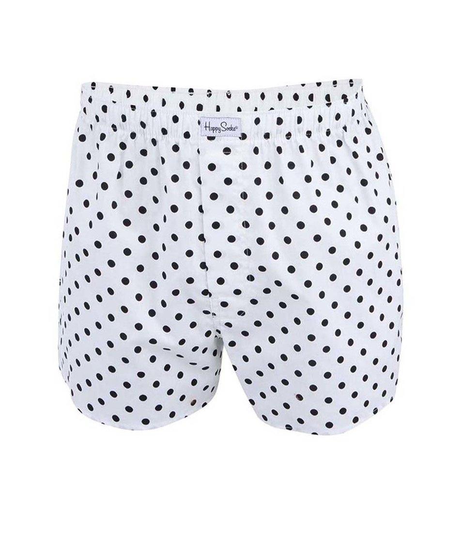 Bílé trenýrky s černými puntíky Happy Socks Dots