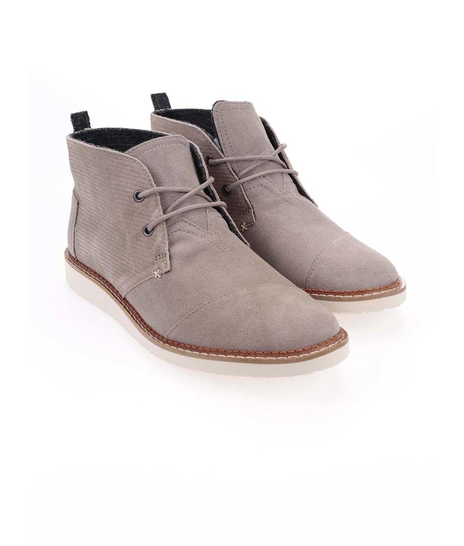 2e6324753bb Šedé pánské kožené kotníkové boty Toms Mateo Chukka - SLEVA ...