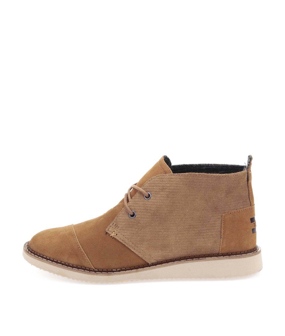 Hnědé pánské kožené kotníkové boty Toms Mateo Chukka
