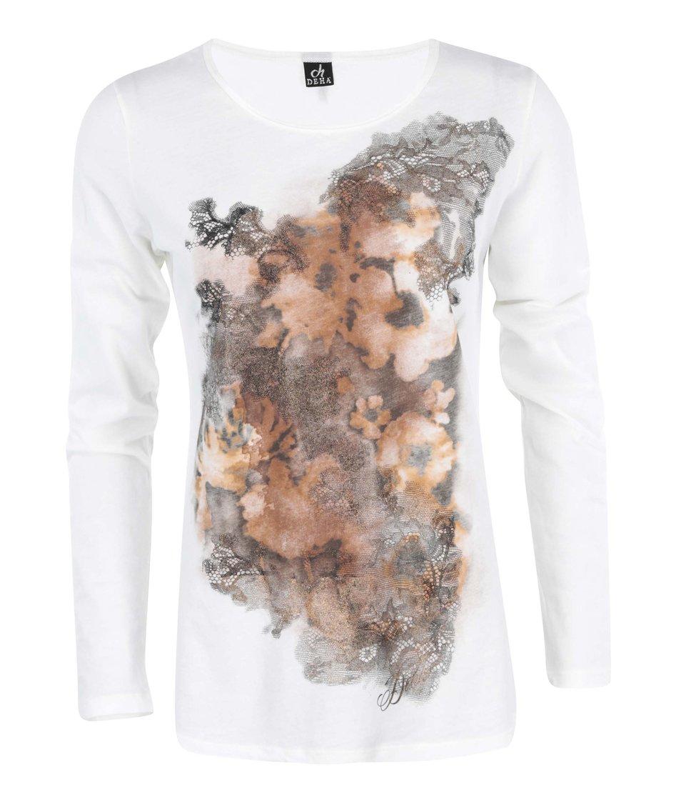 Bílé tričko s potiskem květů DEHA