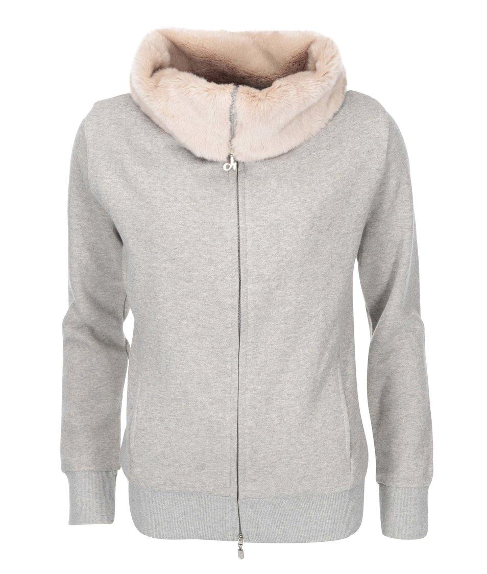 Růžovo-šedá mikina s kožešinovým límcem DEHA
