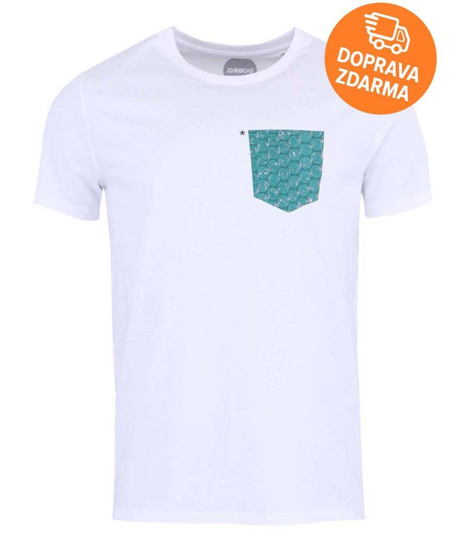 """""""Dobré"""" bílé pánské triko s potištěnou kapsou pro Jeden svět"""