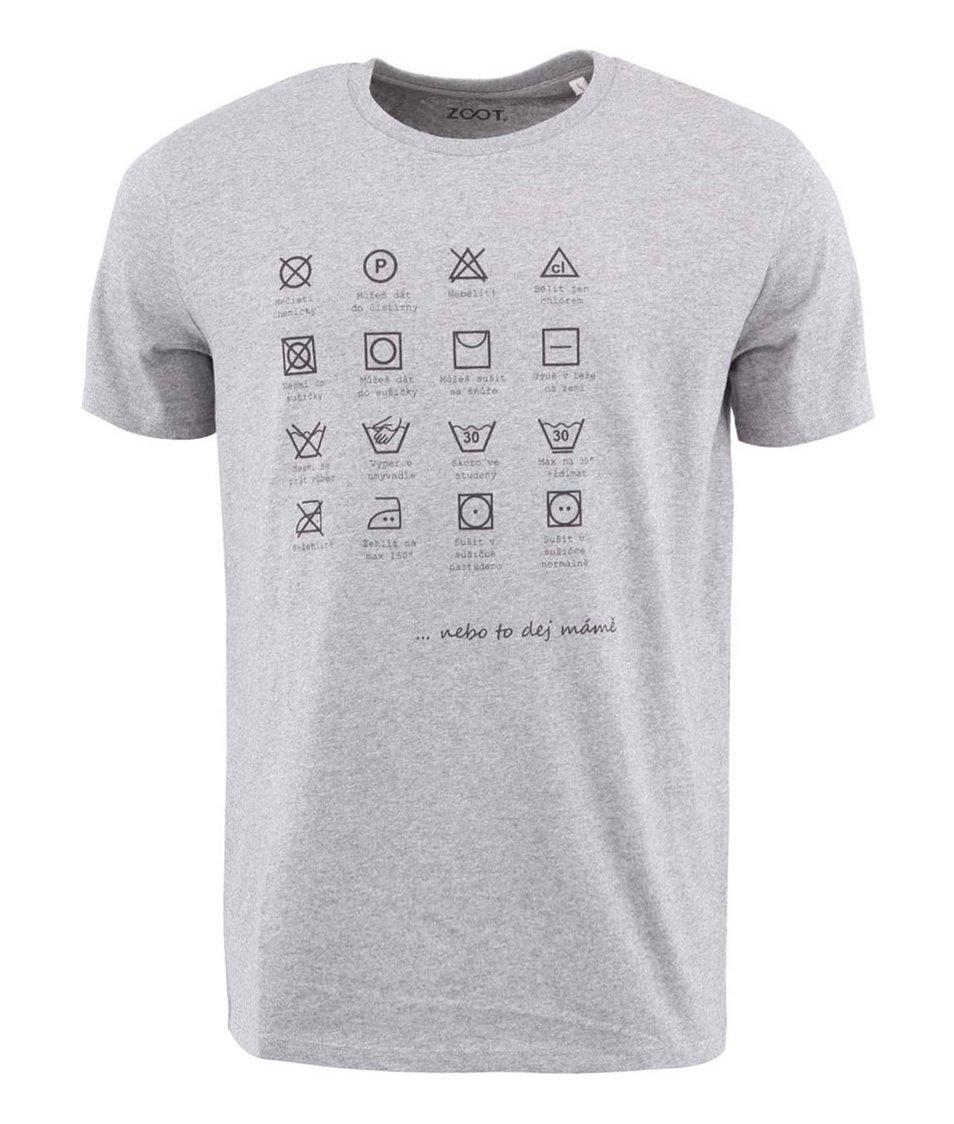 Šedé pánské triko ZOOT Lokál Prací symboly