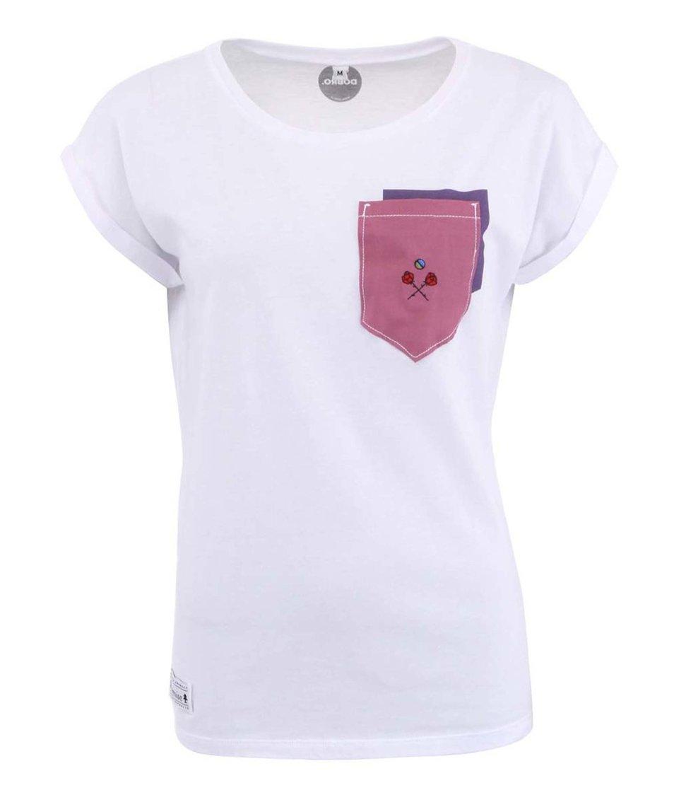 """""""Dobré"""" bílé dámské triko s našitou kapsou Cesta domů"""