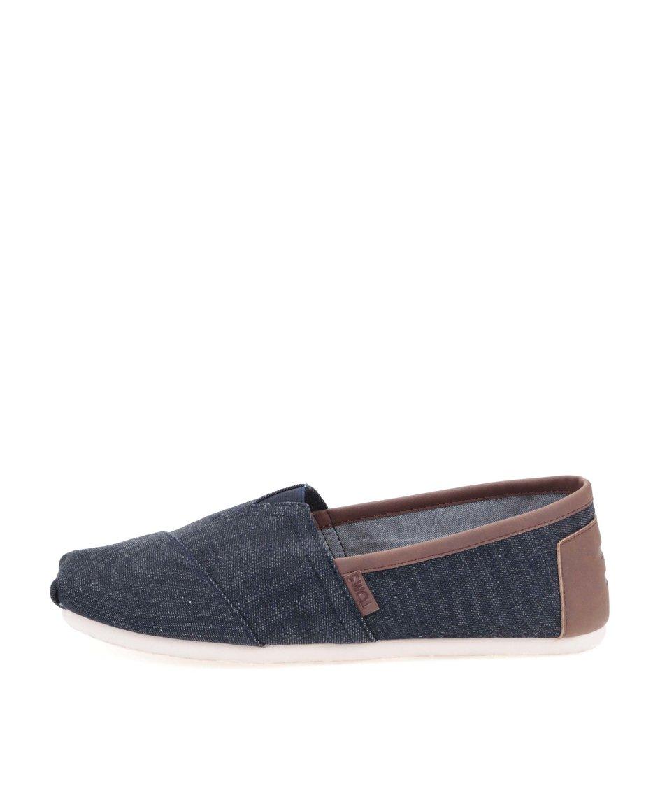 Tmavě modré džínové pánské loafers s hnědým lemováním Toms Classic