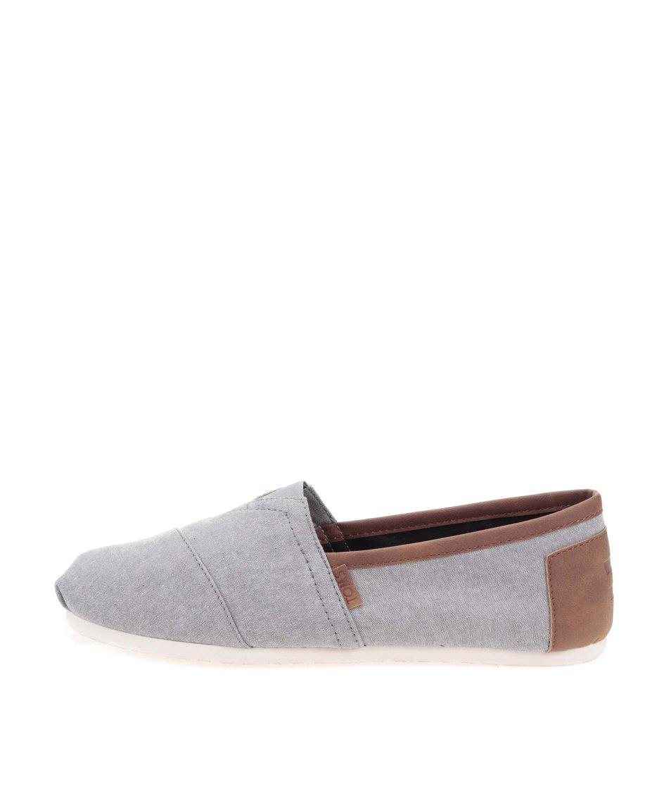 Šedé pánské loafers s hnědým lemováním Toms Classic