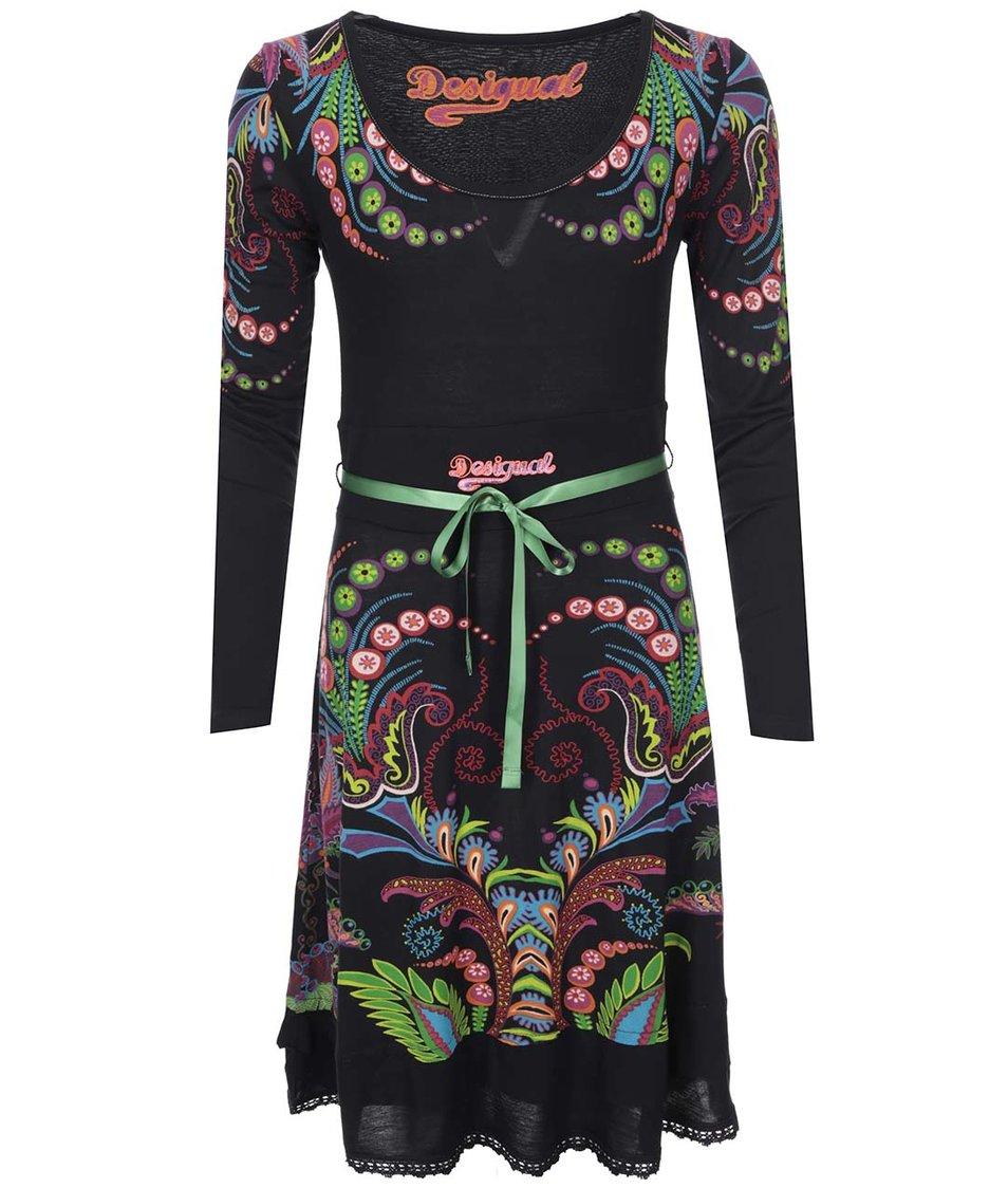 Černé šaty se vzorem Desigual Lorena