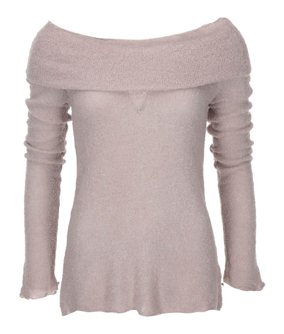 Světle růžový svetr s lodičkovým výstřihem DEHA