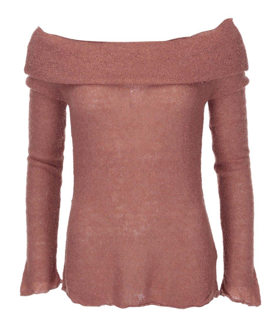 Hnědorůžový svetr s lodičkovým výstřihem DEHA
