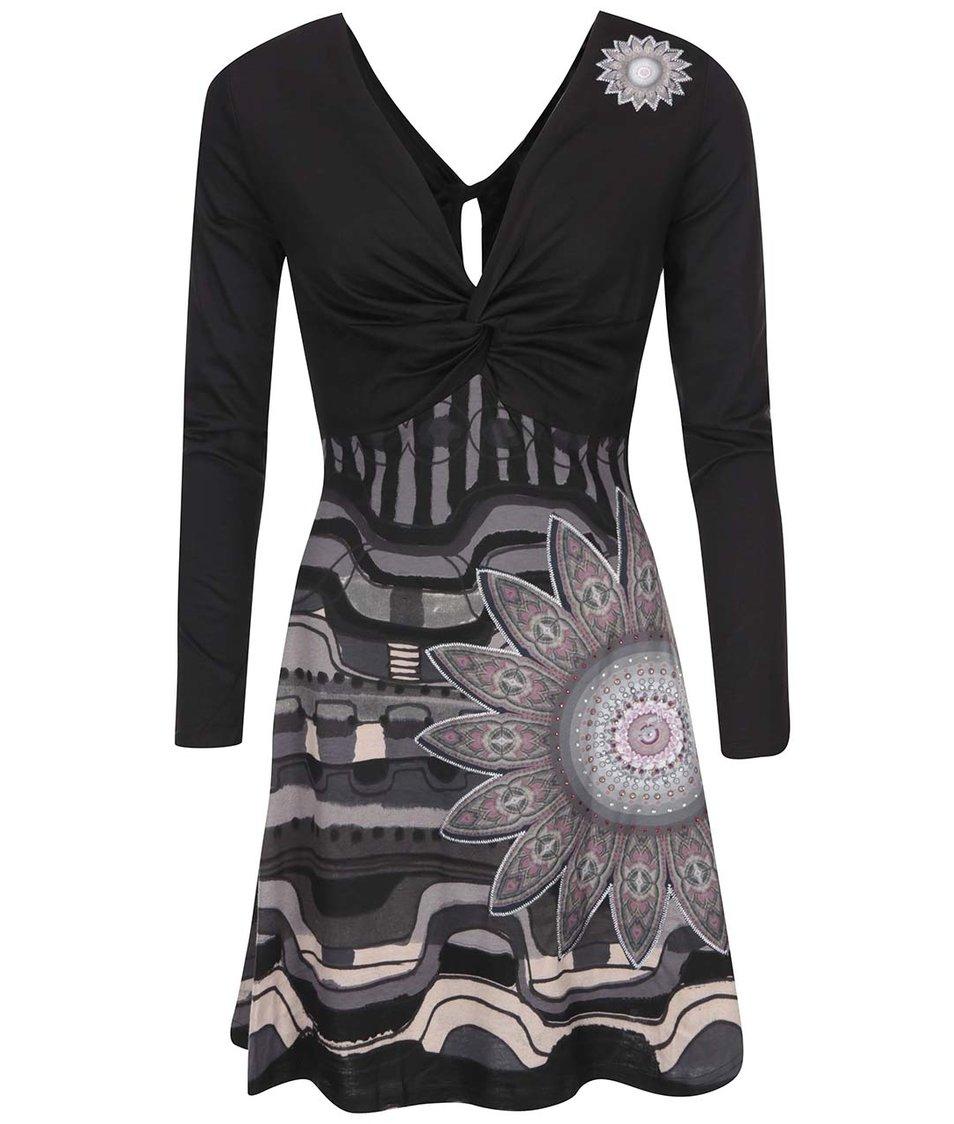 Černé šaty se vzorem Desigual Débora